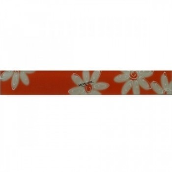 Verre Carrelage Bordure 4x30x0,8cm Fleurs Orange