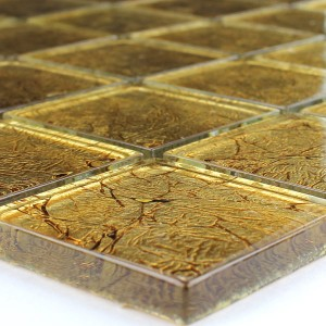 Mosaique Verre Carrelage 48x48x8mm Or Metal