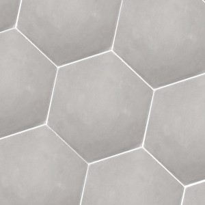 Carreaux de Ciment Hexagone Crewe Gris Clair Uni