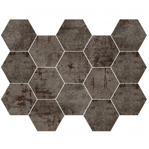 Mosaïque Carrelage Phantom Steel Hexagone Demi Poli