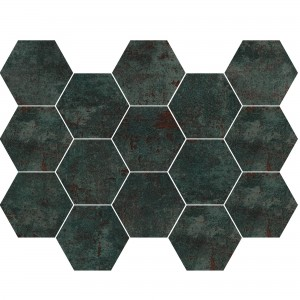 Mosaïque Carrelage Phantom Sea Green Hexagone Demi Poli